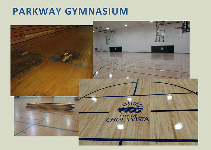 The court has a full-size college court and a volleyball court painted on it lengthwise. Crossing that are three smaller volleyball courts and two high school-sized basketball courts.