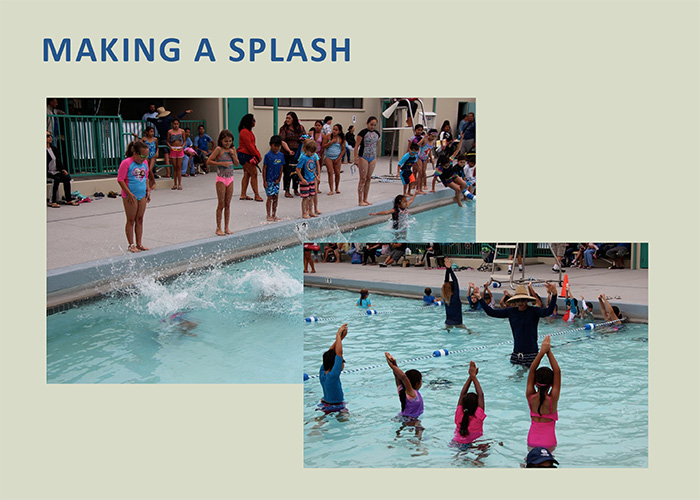 Children swimming, playing games and enjoying the improvements