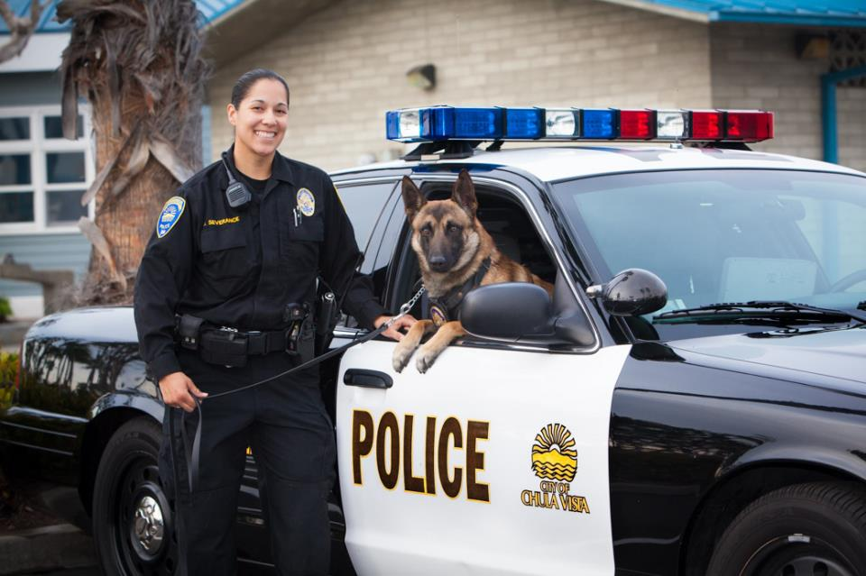 Police officer, police dog and police car
